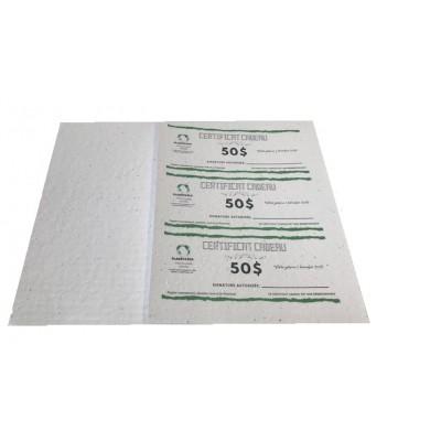 12 certificats cadeaux sur papier ensemencé